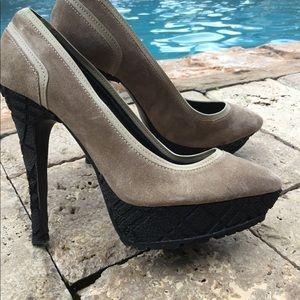 Burberry suede check heel